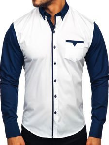Tmavě modrá pánská elegantní košile s dlouhým rukávem Bolf 5726-1