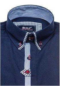 Tmavě modrá pánská elegantní košile s dlouhým rukávem Bolf 6949