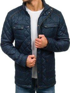 Tmavě modrá pánská elegantní přechodová bunda Bolf 019
