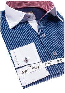 Tmavě modrá pánská elegantní pruhovaná košile s dlouhým rukávem Bolf 4784