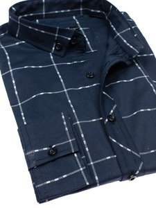 Tmavě modrá pánská kostkovaná košile s dlouhým rukávem Bolf 0280
