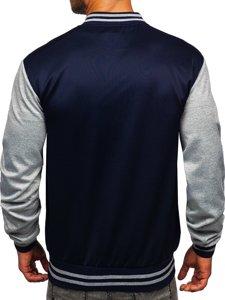 Tmavě modrá pánská mikina- baseballová bunda s potiskem Bolf B10155