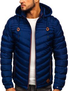 Tmavě modrá pánská prošívaná sportovní zimní bunda Bolf 50A178