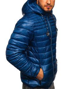 Tmavě modrá pánská prošívaná sportovní zimní bunda Bolf 50A411
