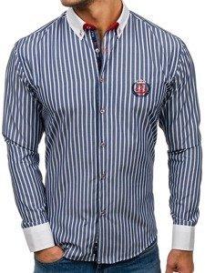 Tmavě modrá pánská proužkovaná košile s dlouhým rukávem Bolf 1771