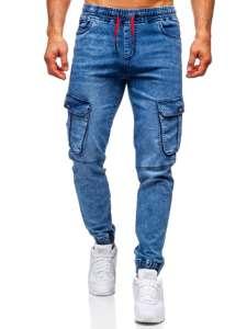 Tmavě modré pánské džínové jogger kapsáče Bolf HY689