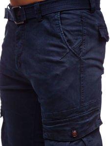Tmavě modré pánské jogger kapsáče s opaskem Bolf 2752