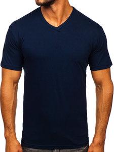 Tmavě modré pánské tričko bez potisku s výstřihem do V Bolf 192131