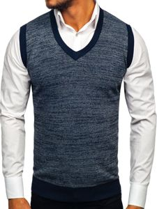 Tmavě modrý pánský svetr bez rukávů Bolf 8131