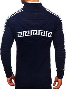 Tmavě modrý silný pánský svetr s vysokým límcem Bolf 1052