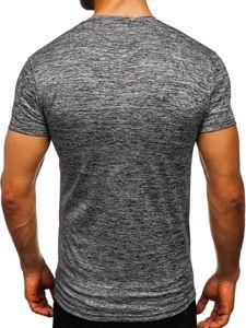 Tmavě šedé pánské sportovní tričko bez potisku Bolf S01