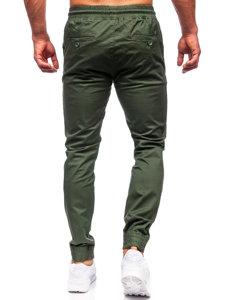 Tmavě zelené pánské jogger kalhoty Bolf KA951