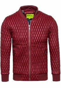 Vínová pánská kožená bunda z ekokůže Bolf 7558
