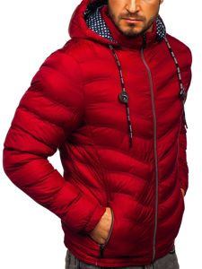 Vínová pánská prošívaná sportovní zimní bunda Bolf 50A255