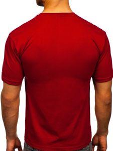 Vínové pánské tričko s potiskem Bolf 14333