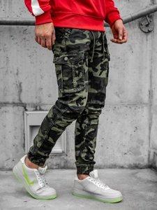 Zelené pánské maskáčové jogger kapsáče Bolf CT6019