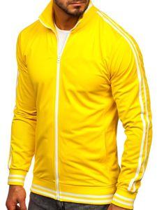 Žlutá pánská mikina na zip bez kapuce retro style Bolf 11113