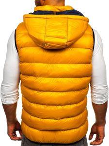 Žlutá pánská prošívaná vesta s kapucí Bolf 6506