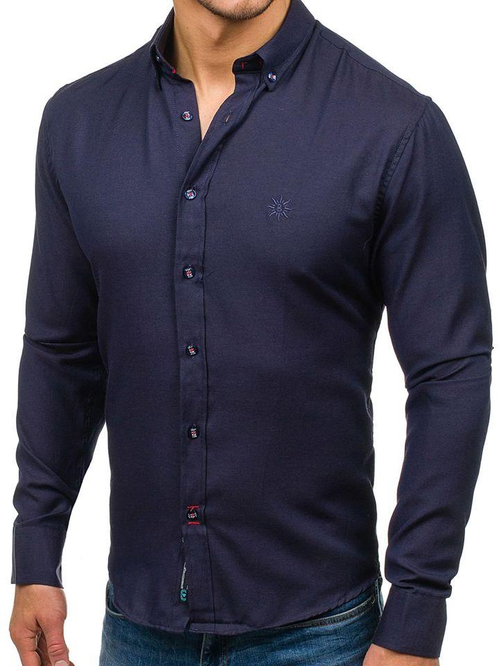 Pánská tmavě modrá elegantní košile s dlouhým rukávem Bolf 5803 4abf52aeff
