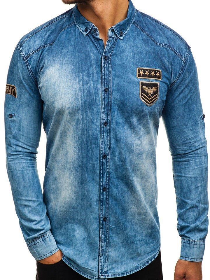 fac19db6c5d Modrá pánská džínová košile s dlouhým rukávem Bolf 0992