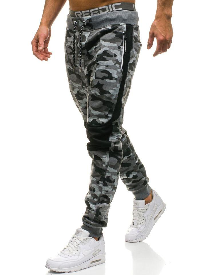 Maskáčovo-šedé pánské jogger tepláky Bolf QN269 78fa7cf5c1