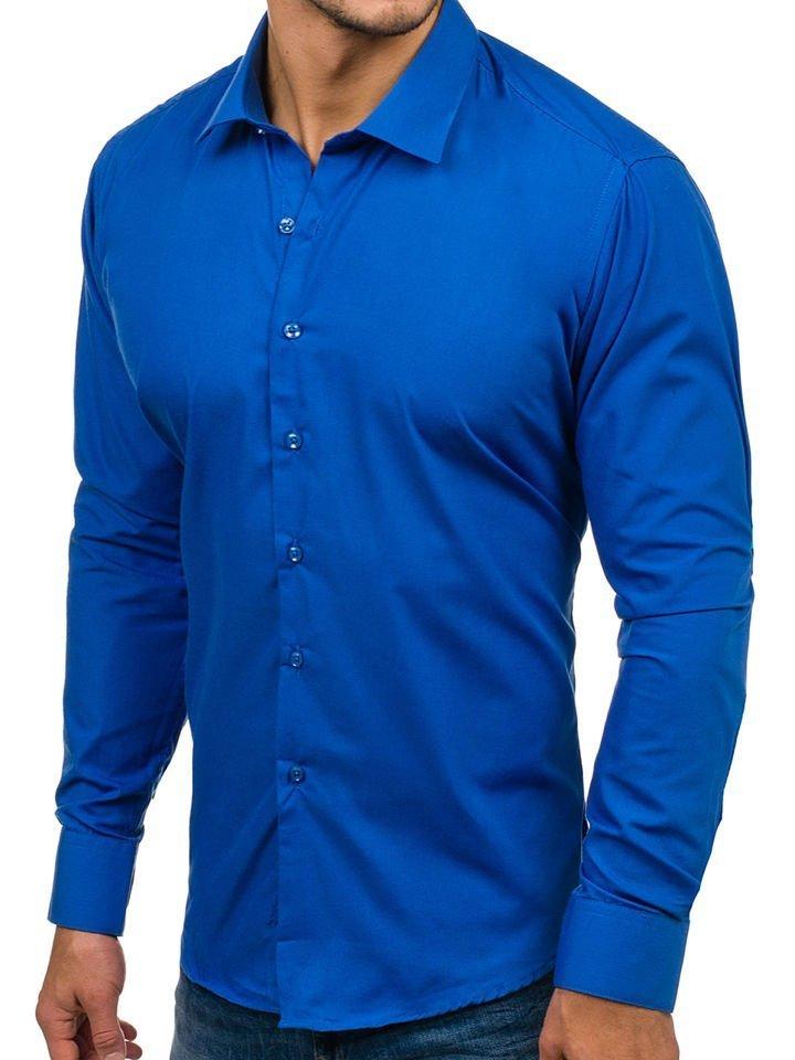 498a3eac21a Královsky modrá pánská elegantní košile s dlouhým rukávem Bolf TS100
