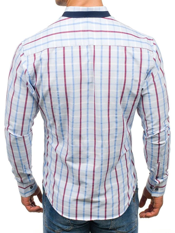 Modrá pánská kostkovaná košile s dlouhým rukávem Bolf 8809 bc826a1fd9