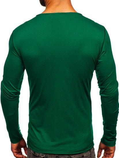 Zelené pánské tričko s dlouhým rukávem bez potisku Bolf 547