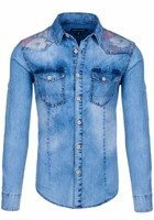 Sky Blue Men's Denim Patterned Long Sleeve Shirt Bolf 6378