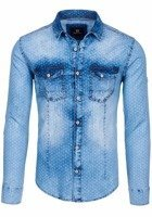 Sky Blue Men's Denim Patterned Long Sleeve Shirt Bolf 6495